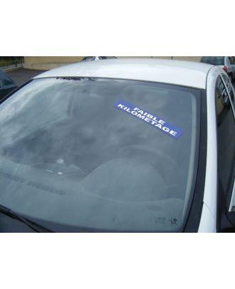 Autocollant Pare Brise Avantage bleu Faible Kilométrage