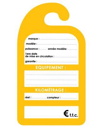 Affiche de prix rétroviseur carton coloris jaune