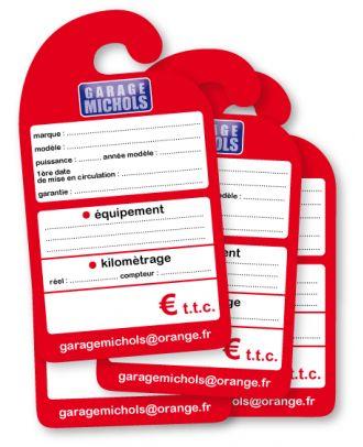 Affiche de prix rétroviseur en carton personnalisée les 50 ex