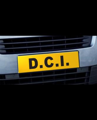 Cache plaque d'immatriculation avantage DCI jaune et noir