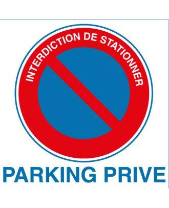 Autocollant interdiction de stationner parking privé