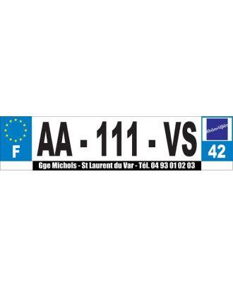 Autocollant noir dessous de plaque d'immatriculation Auto personnalisé 38 x 1.4 cm
